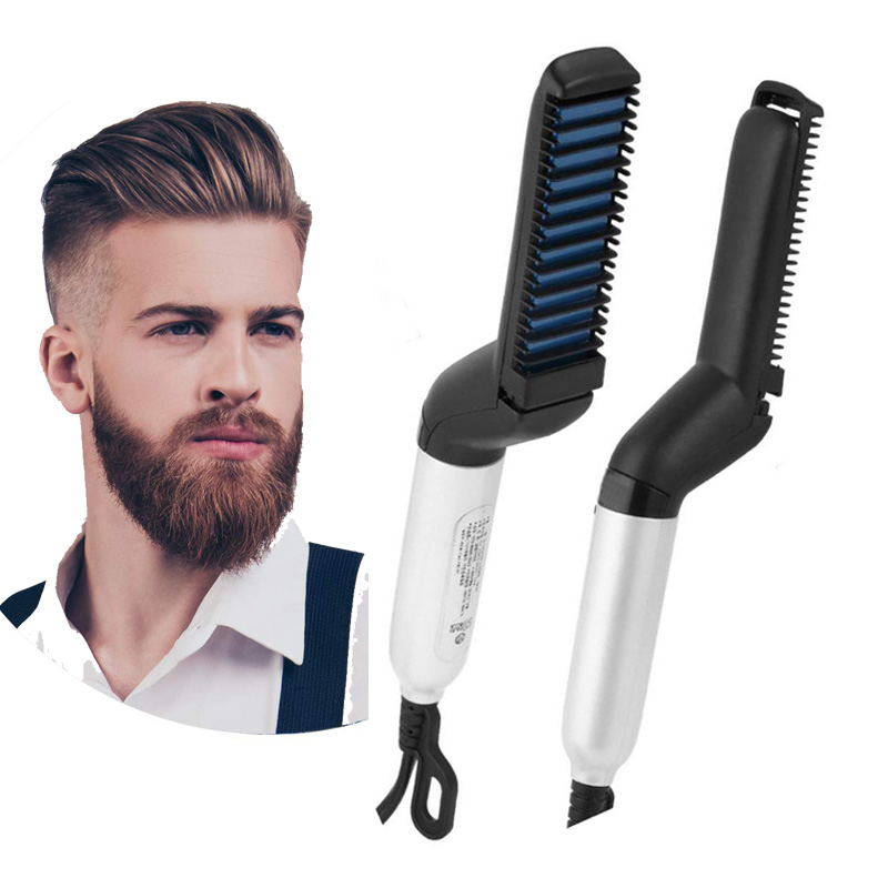 Beard Straightener For Men Multifunctional Hair Comb Curly Volume Up Hair Show Cap Electric Heating Hairbrush Hairstyle