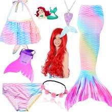 Nuevos niños de cola de sirena nadar traje de baño traje de chicas en Bikini traje de cola de sirena disfraz con monoaleta aletas peluca