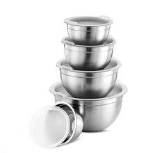 Салатники из нержавеющей стали с крышкой, миска для смешивания еды с защитой от ожогов, Миксер для торта и хлеба, кухонная посуда, миска, инструменты для приготовления пищи