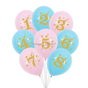 1st 2nd 3rd 4th 5th 6th 7th 8th 9th birthday balloon 1 2 3 4 5 6 7 8 9 year happy birthday party decoration gold print balloons