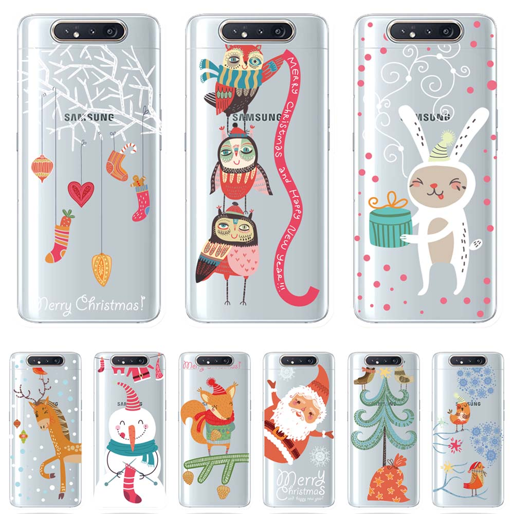 Fashion Christmas Light oil clear TPU Phone Case For <font><b>Samsung</b></font> Galaxy A10 A30 A40 <font><b>A50</b></font> 70 A80 Cover Fundas Coque Capinhas <font><b>Hoesjes</b></font> image