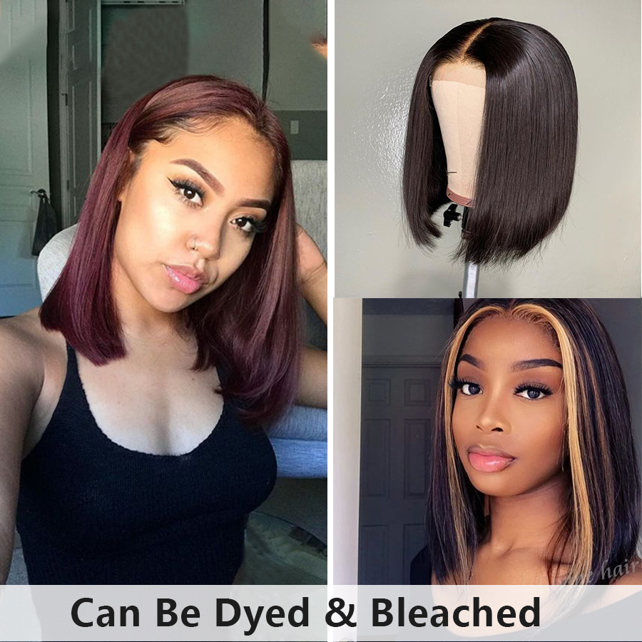 Short Human Hair Wig Straight 13x6 Lace Front Wig Pixie Cut Wig Pre Plucked Straight Bob Wig With Baby Hair Brazilian Remy Hair