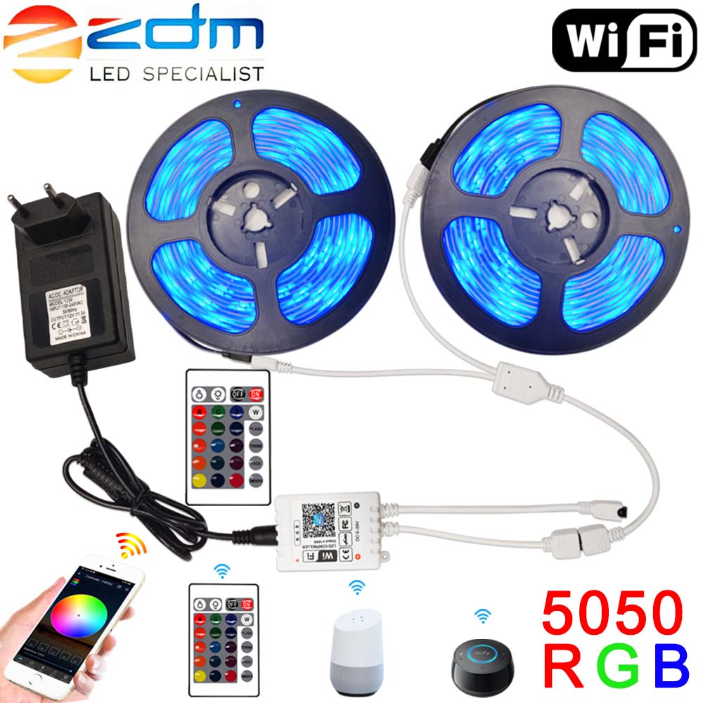 LED Strip 12V Ribbon LED Light Strip RGB Tape SMD 5050 2835 Flexible 5M 10M 15M Diode Tape With Wifi Remote Backlight For TV