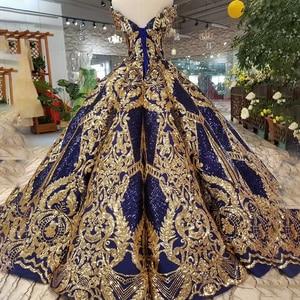 Image 2 - HTL387G Navy Blau Dubai Abendkleid 2020 Plus Größe Goldene Off Schulter Schatz Für Frauen Geschwollen