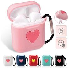 heart shape shell case for apple airpods soft cover colorful Airpods silicone bluetooth earphone