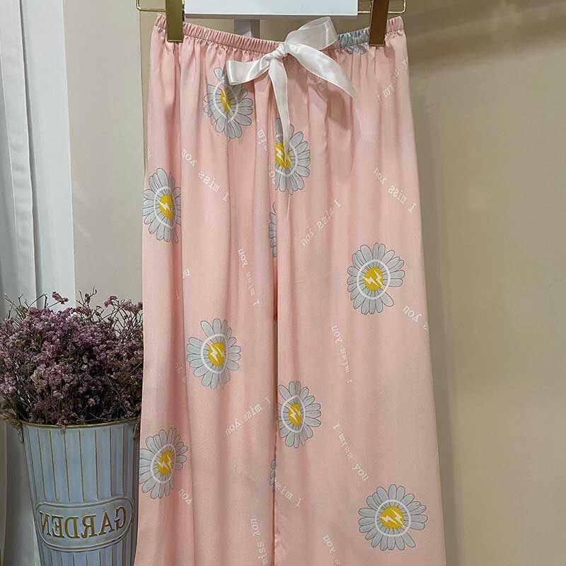 Mulheres calças de perna larga floral impresso bonito solto fino sleep pants tamanho grande cintura elástica senhoras verão conforto calças homewear