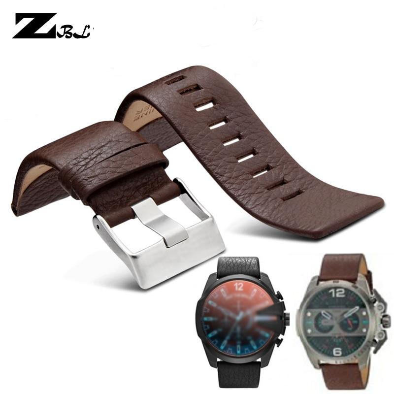 Genuine Leather Strap Watchband 22 24 26 27 28 30mm Litchi Grain For Diesel Watch Band Soft Comfortable DZ4386 Watch Bracelet