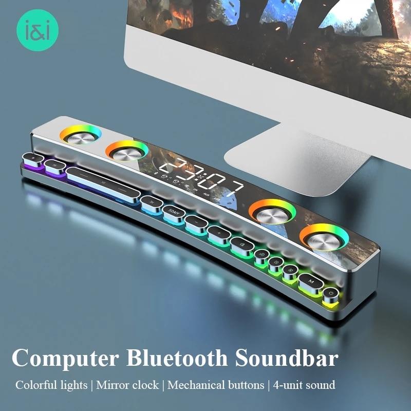 LED Wireless Game Bluetooth Speaker Computer Soundbar 3D Stereo Music Centre Subwoofer Home Theatre Clock Loudspeaker 3600mAh TF