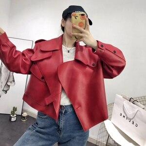 Image 5 - 革のジャケットの女性プラスサイズのシープスキンのコート 2020 atutmn冬のコートやジャケット女性カジュアル女性のオーバーコート