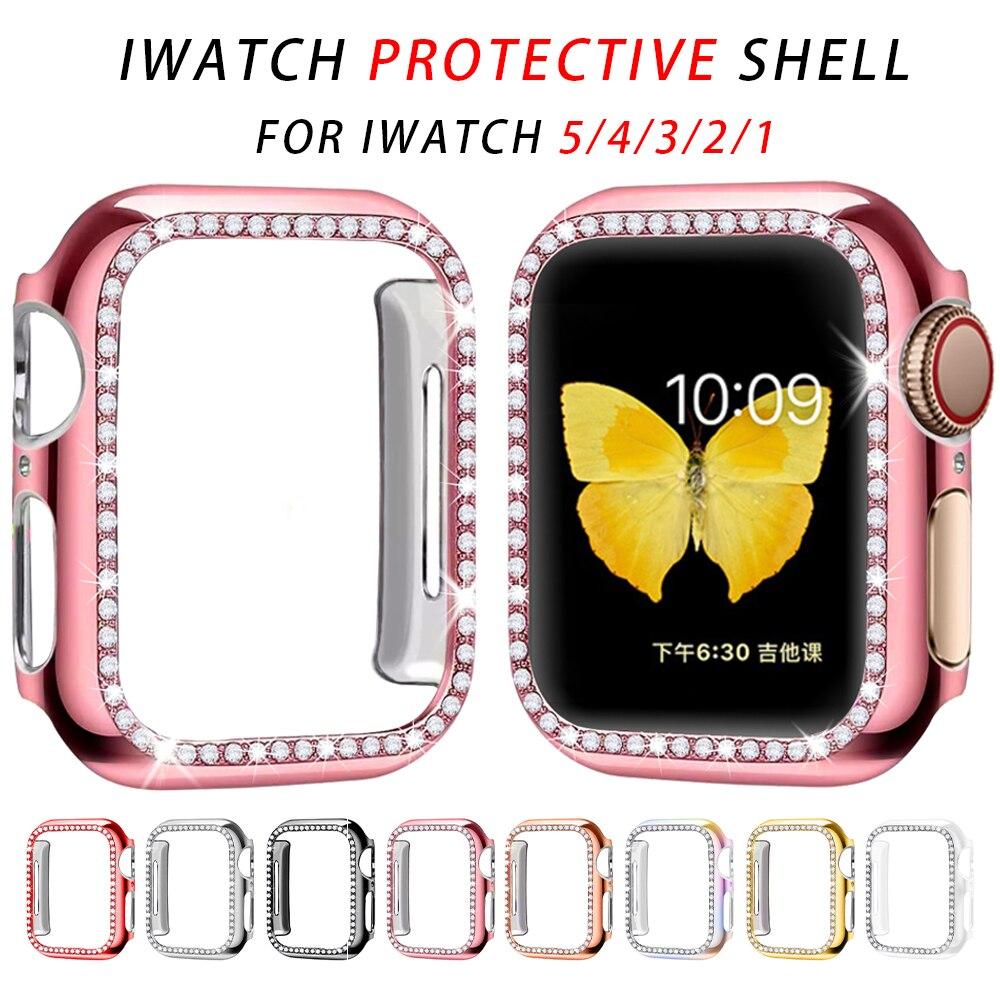 Parachoques de diamante funda protectora para Apple funda para reloj Series 5 4 3 2 1 38MM 42MM fundas para Iwatch 5 4 40mm 44mm accesorios para reloj