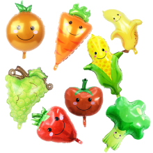 цена на 1pcs Fruit Vegetables Foil Balloons strawberry pineapple watermelon ball helium Summer Hawaii party decor tropical fruit