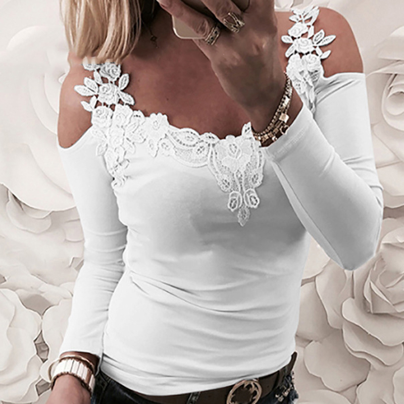 Bigsweety New Strap Off Shoulder Lace Stitching Woman Blouse O neck Sexy Long Sleeve s Female Casual Slim Tee Shirts Top|Blouses & Shirts| - AliExpress