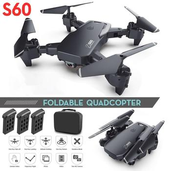S60 Toy Drone Dual Camera Wide Angle Camera Wifi FPV Foldable Quadcopter With 4k/720P HD Aerial Photography Camera image