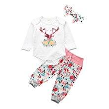 Для новорожденных на возраст от 0 до 24 месяцев, детские для маленьких девочек рождественское платье с длинными рукавами и принтом в виде оленей комбинезон с цветочным рисунком, длинные штаны, повязка на голову, одежда для девочек, комплекты из 3 предметов