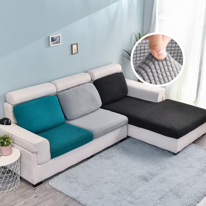 Funda de cojín de sofá elástica para decoración del hogar, funda protectora de Color sólido, funda de sofá lavable a juego con personalidad