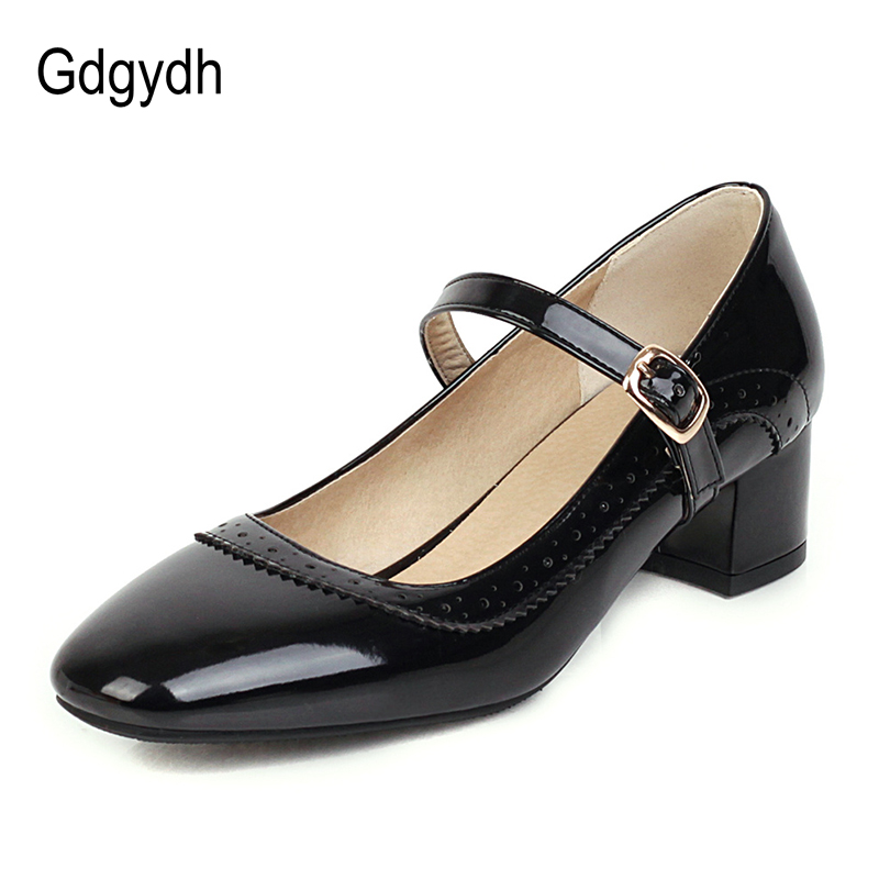 Gdgydh Square Heel Adult Mary Janes Large Size Lolita Shoes White Women Pumps For Work Office Yellow Comfortable Casual 2020 New