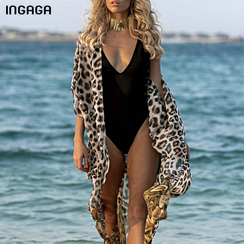 INGAGA Leopard Print Long Beach Dress Sexy Cardigan Beachwear Cover Up Half Sleeve Swimwear Women Belted Bathing Suit Women 2020