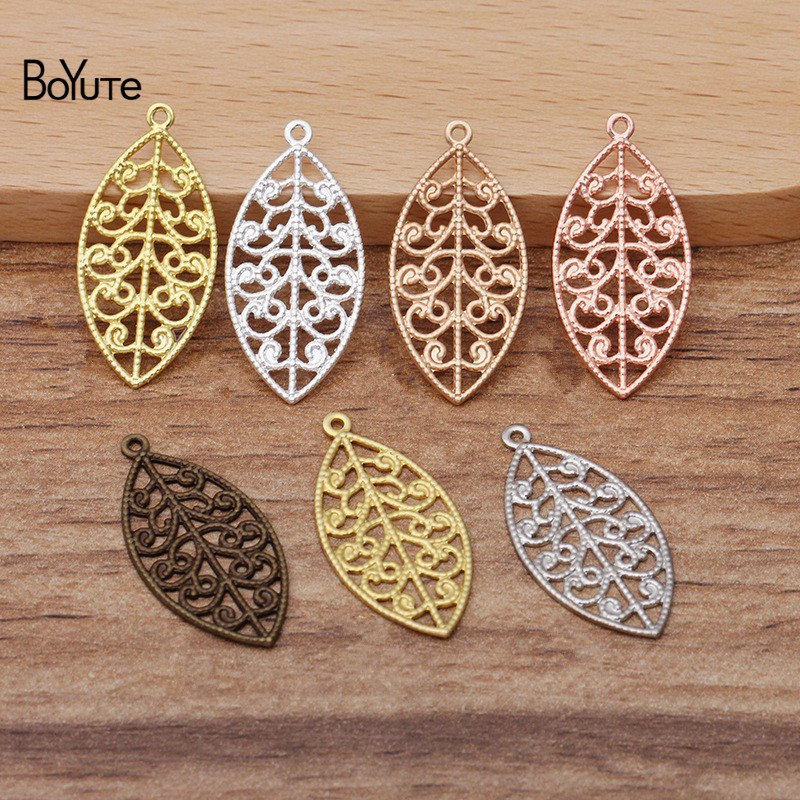 BoYuTe (<font><b>100</b></font> Pieces/Lot) 25*13MM Metal Brass Filigree Leaf Charms for Jewelry Making Diy Hand Made Materials Wholesale image