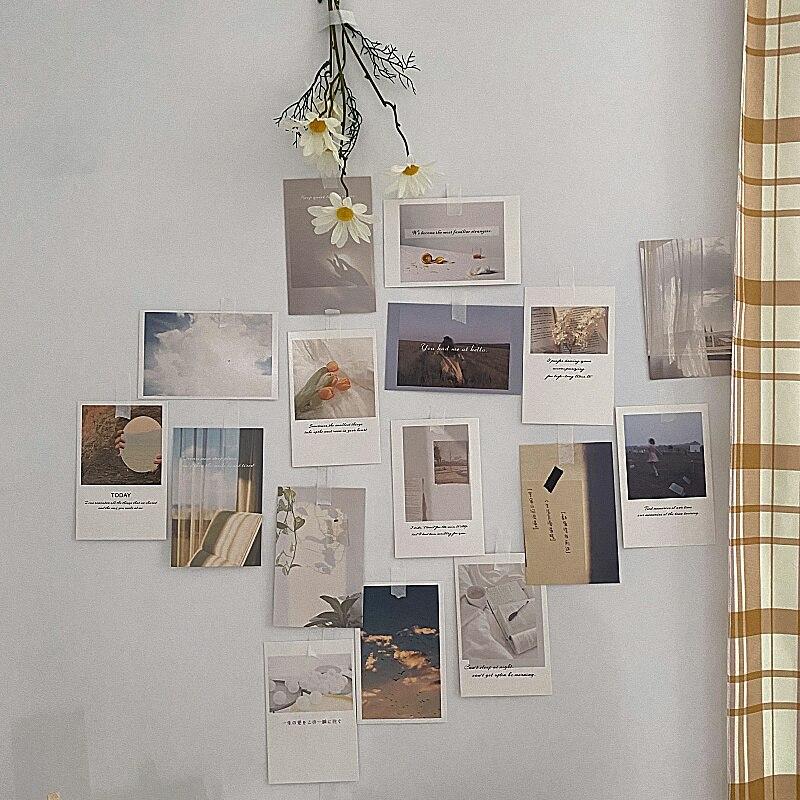 Coreano ins foto decoração conjunto de cartão 30 folhas arte fotografia adereços collocation cartão diy quarto adesivo parede impressão a cores