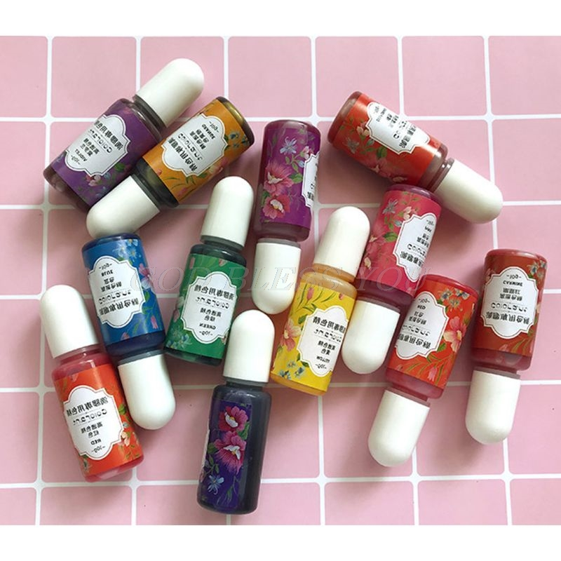 13 Colors Epoxy UV Resin Coloring Dye Liquid Epoxy Pigment Resin Colorant Fading Resistance10ml Translucent Make Jewelry Pigment 4