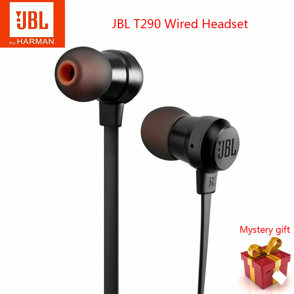 Original JBL T290 In-Ear Wired Stereo Headphones Sports Aluminum Earphones Pure Bass High Performance Headset With Microphone