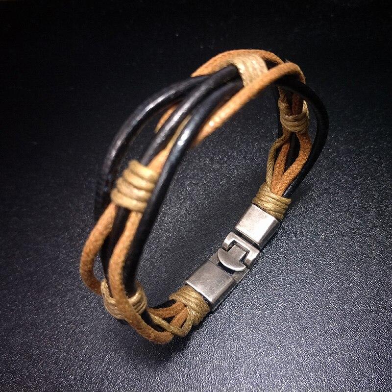 Trendy Mix Color Leather Lucky Survival Bracelets for Women Men Accessories 2020 Fashion Summer friendship Bracelets Femme homme