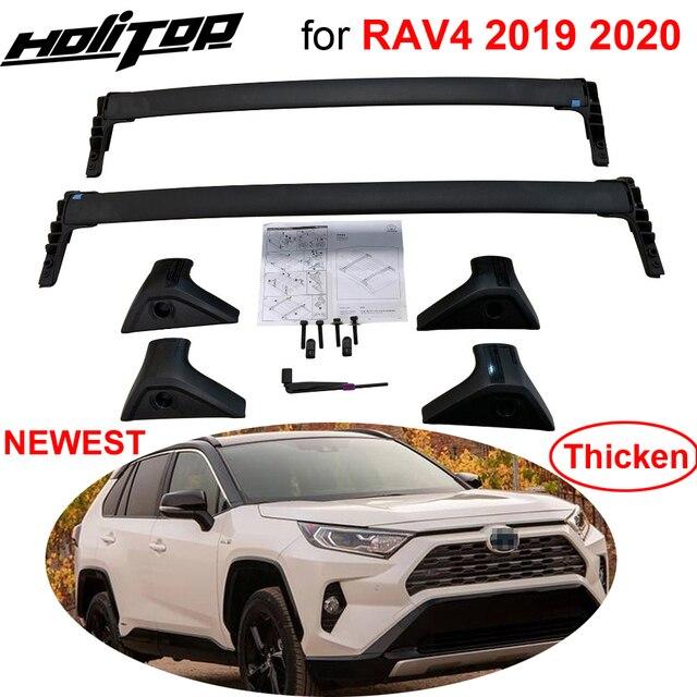 """חדש הגעה אופקי גגון בר רוחבי גג רכבת צלב בר עבור טויוטה RAV4 2019 2020, אלומיניום סגסוגת, ארה""""ב orignal סגנון"""