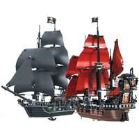 Schwarz Perle Schiff Königin Anne Rache Pirates Karibik Ziegel Legoing Piraten Schiff Boot Modell Bausteine Jungen Geschenke Spielzeug