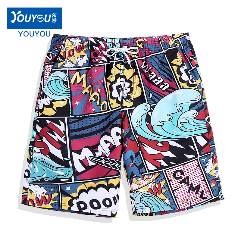 Quick-Drying Loose-Fit Beach Shorts Men's Popular Brand Seaside Holiday-Sewer Couples Short Swimming Trunks Set Flower Shorts Wo