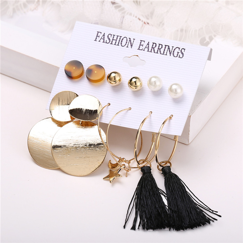 H0609bb152570491daaf557c0f31bc6a8g - IF ME Fashion Vintage Gold Pearl Round Circle Drop Earrings Set For Women Girl Large Acrylic Tortoise shell Dangle Ear Jewelry