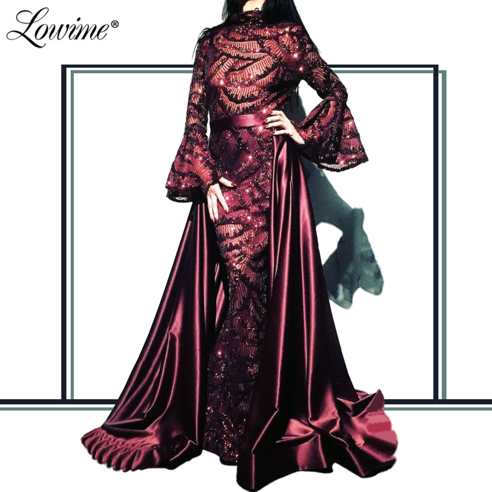 Arabic Evening Dress Gown Dubai Women Celebrity Gowns 2020 Turkish Kaftans With Detachable Train Middle East Prom Dresses Custom