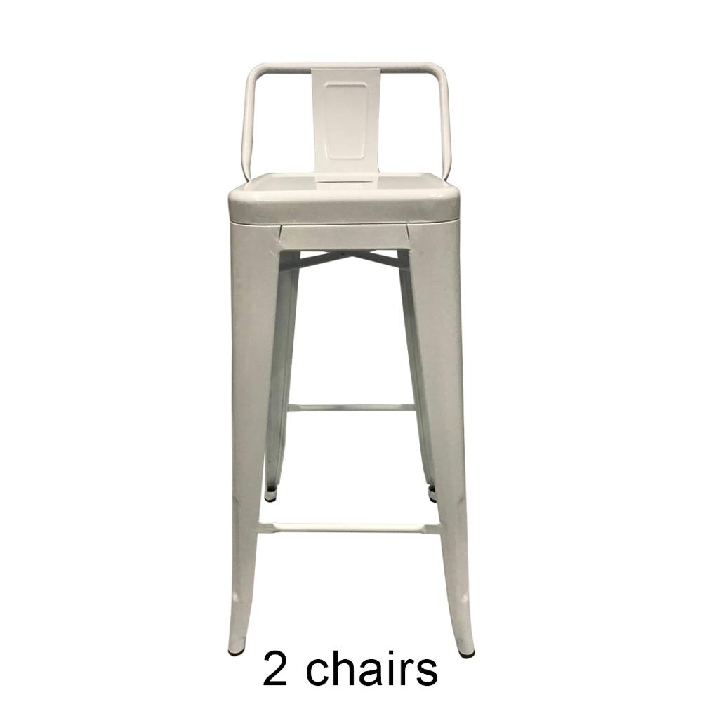 2PCS Bar Stool Fashion White Contemporary Metal Steel Structure Counter Bar Stool For Kitchen Home Anti Slip Floor Protector