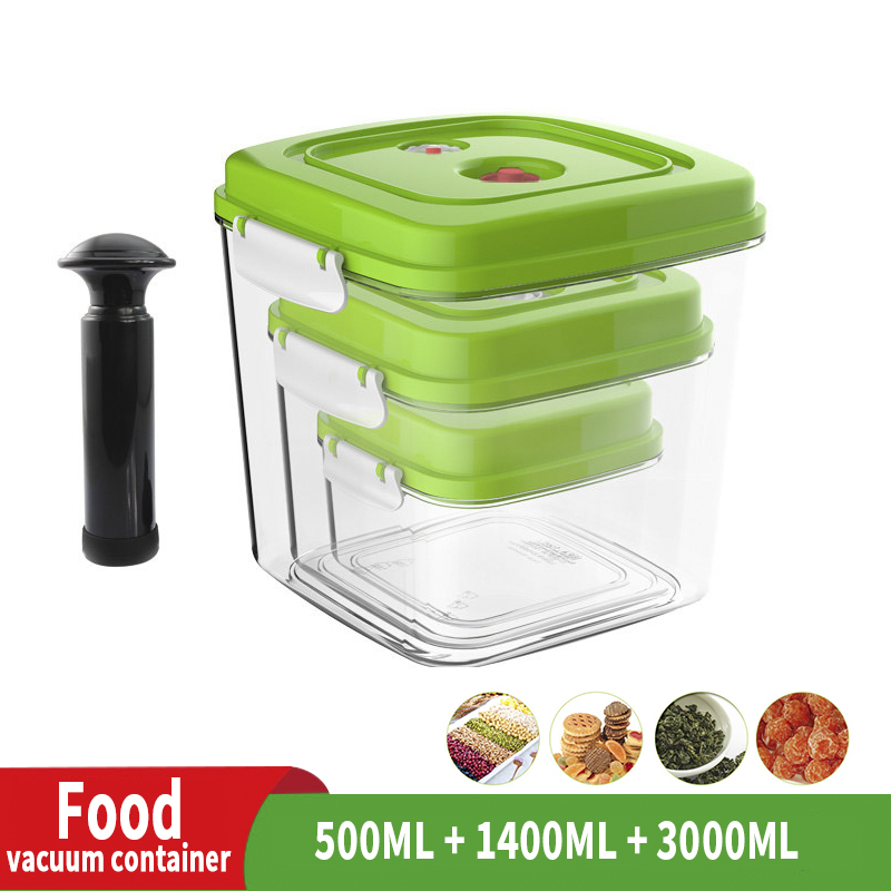 ABS Large-capacity Empty Container For Storing Food Square Plastic Container With Pump 500ML + 1400ML + 3000ML
