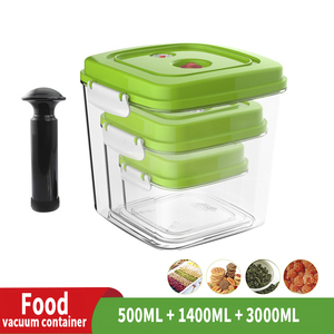 Image 1 - ABS Large capacity Empty Container For Storing Food Square Plastic Container With Pump 500ML + 1400ML + 3000ML