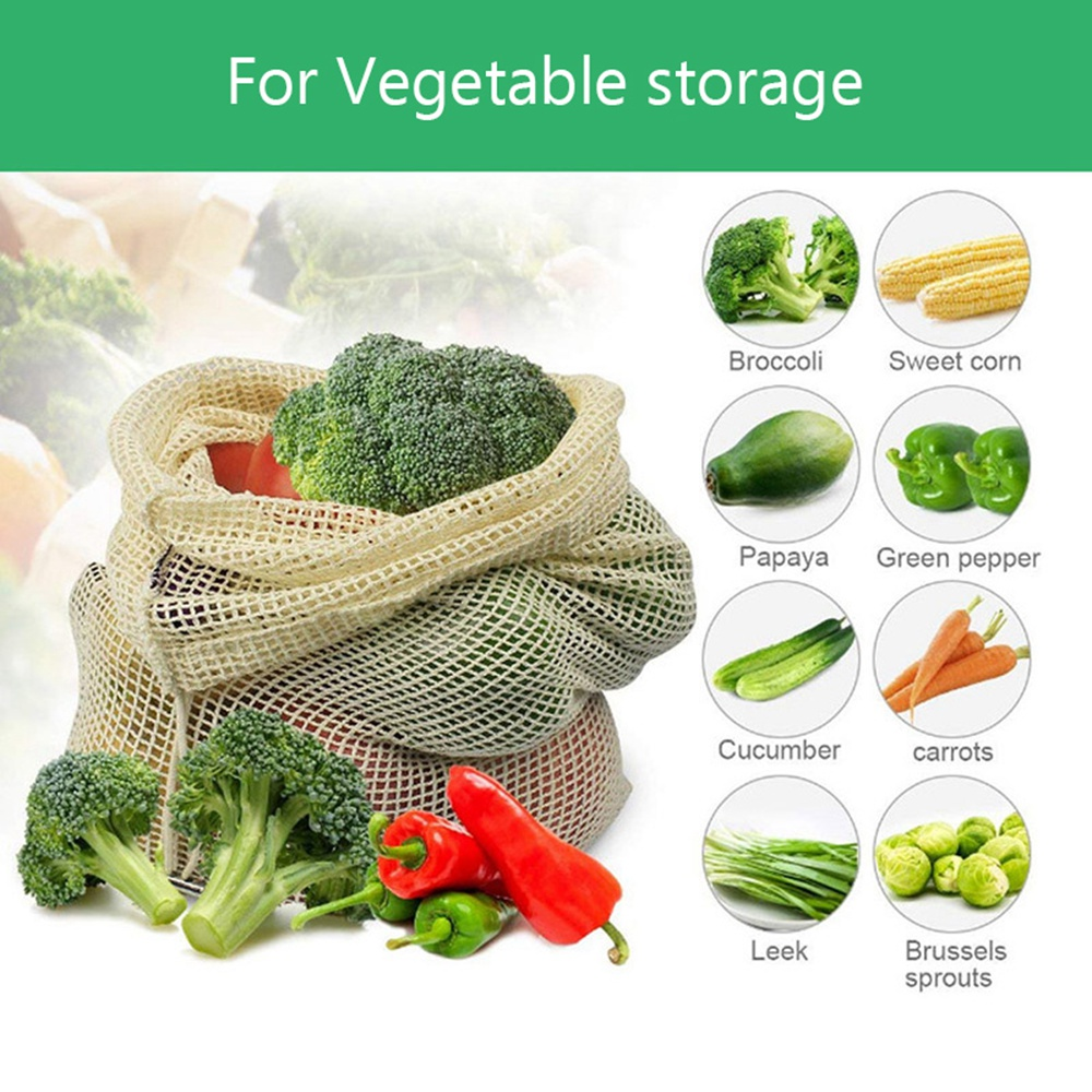 Image 5 - 30pcs 15pcs Reusable Produce Bags Organic Cotton Washable Mesh Bags for Grocery Shopping Fruit Vegetable Organizer Storage Bag-in Bags & Baskets from Home & Garden