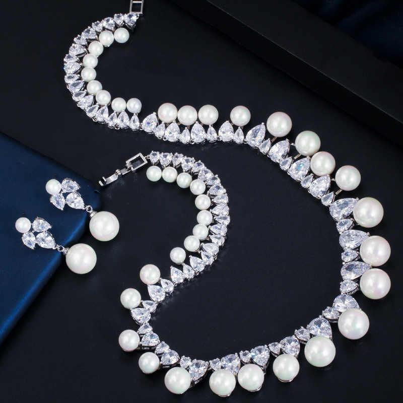 CWWZircons Sparkling Cubic Zirconia ประดับรอบงานแต่งงานสร้อยคอไข่มุกชุดเครื่องประดับต่างหูชุดสำหรับสตรี T366