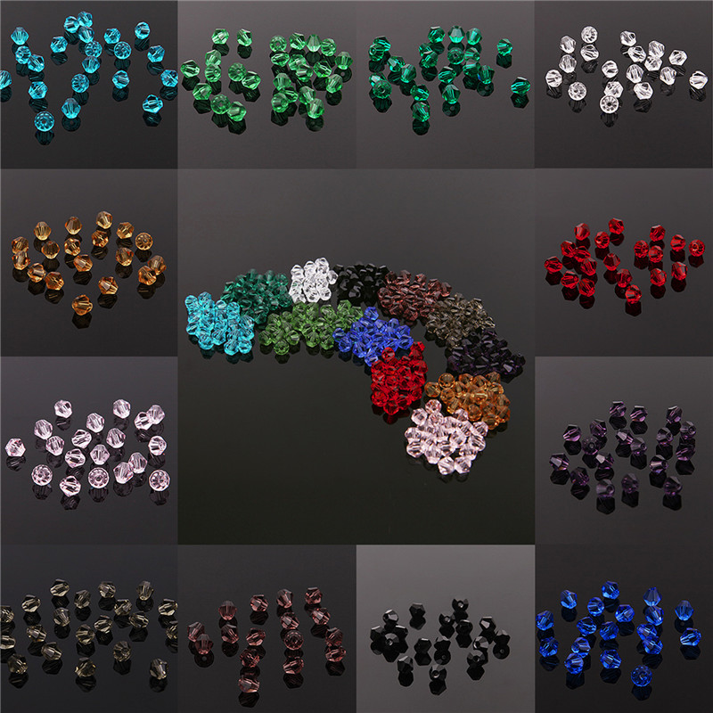 Wholesale 3mm ~ 6mm Half Plated Bicone Faceted Crystal Glass Loose Spacer Beads