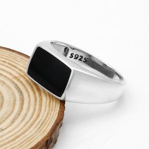 Image 4 - Turkish Men Ring  925 Sterling Silver Rectangle Black Enamel Thai Silver Ring for Men Women Unisex Fashion  Jewelry