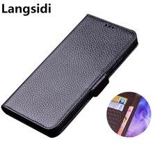 Biznes prawdziwej skóry z boku klamra magnetyczna portfel etui na telefon, karty uchwyt na samsunga Galaxy A10 A30 A40 A50 A60 A70 torba na telefon