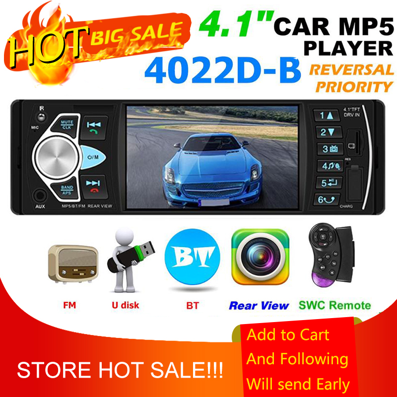 4022D Car Stereo MP5 Player Bluetooth USB TF Card AUX Radio In Dash Receiver Supporting Reversing Image and Video Output