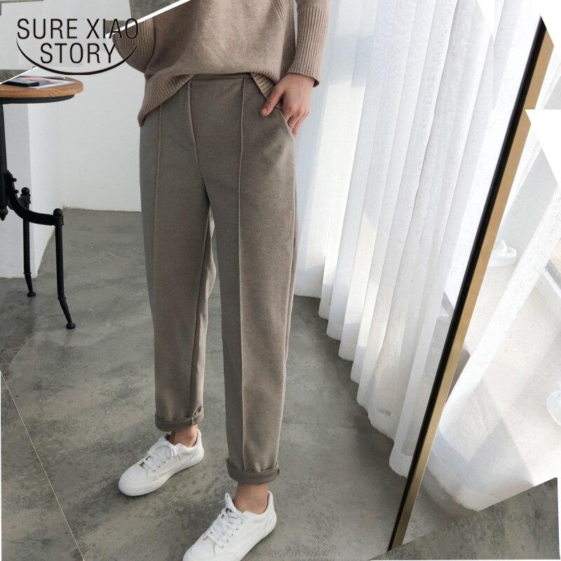 Warm   Pants   Women Pencil   Pants   2019 Autumn Winter Plus Size Thicken OL Style Wool Female   Pants   Loose Lady Trousers   Capris   6648 50