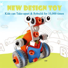 3in1 Intelligent Car Robot Model with Assembly tool Set Creative science DIY Screw block Construction Toy for Children(China)