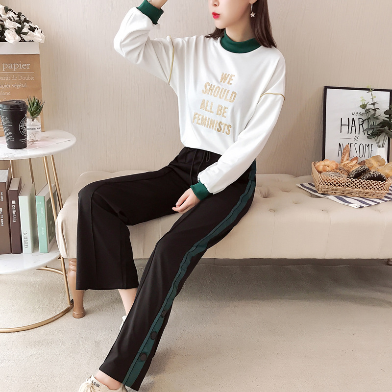 Spring New Style Large Size Dress Fashion Loose Running Sports Students Two-Piece Hoodie WOMEN'S Suit