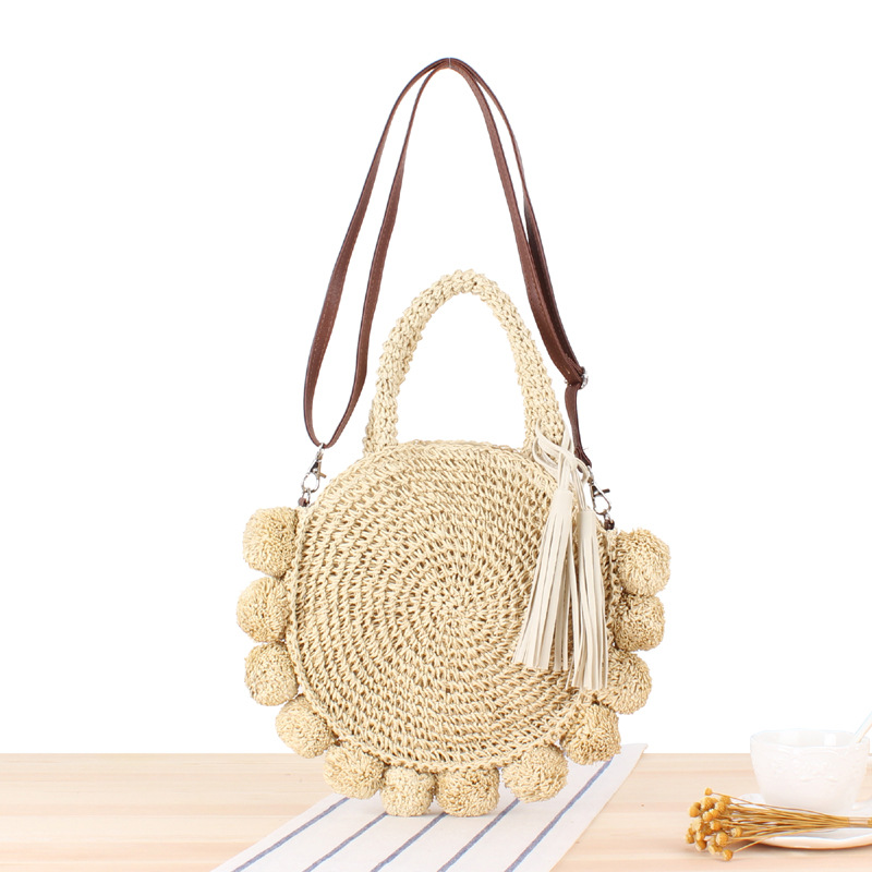 Ins New Vacation Beach Woven Bag Round Ball Portable Cross-body Versatile Straw Bag