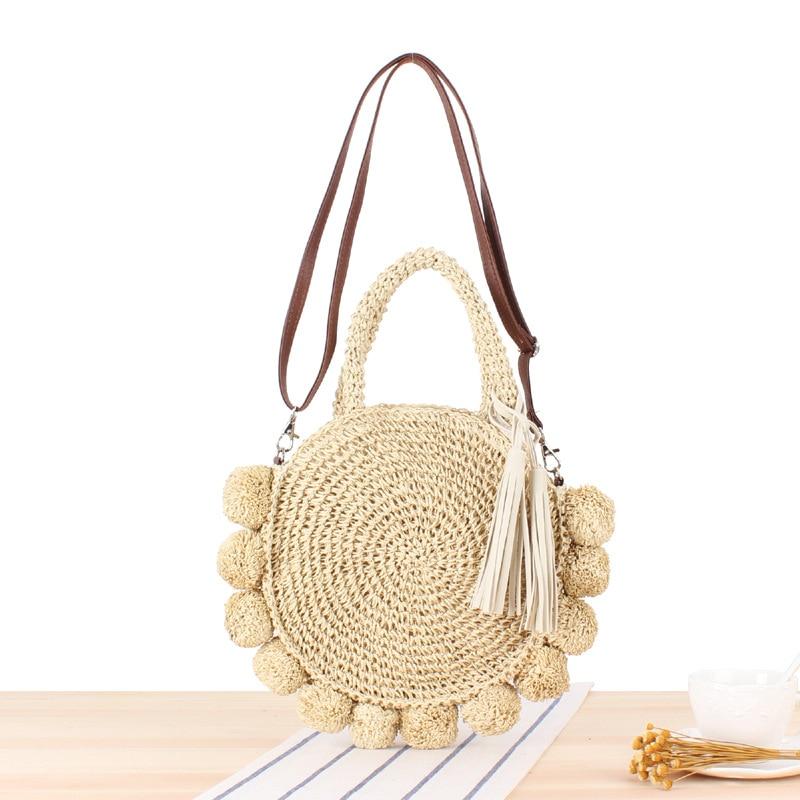Ins New Vacation Beach Woven Bag Round Ball Portable Cross-body Versatile Straw Bag