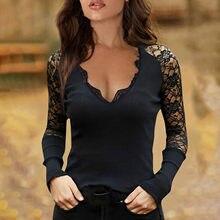 T-shirt épaules dénudées en dentelle pour femme, vêtement Long, Sexy, moulant, col en v, 30 #, 2021