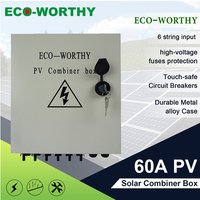 6 String Solar PV Combiner Box 63A Circuit Breakers Surge Lightning Protection for home solar system panel Array PV Junction BOX