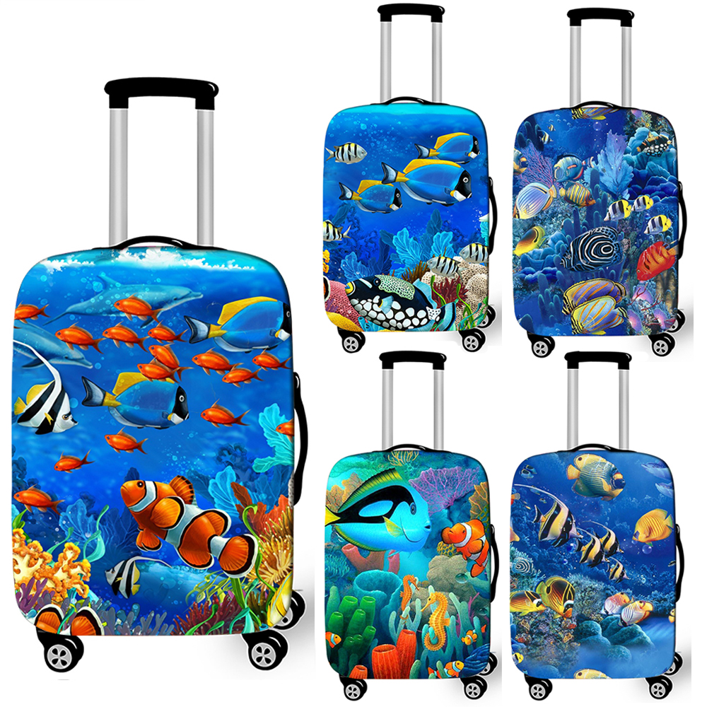 Funny Underwater Sea Animal Print Luggage Cover Elastic Suitcase Cover For Travelling Anti-dust Trolley Cases Covers