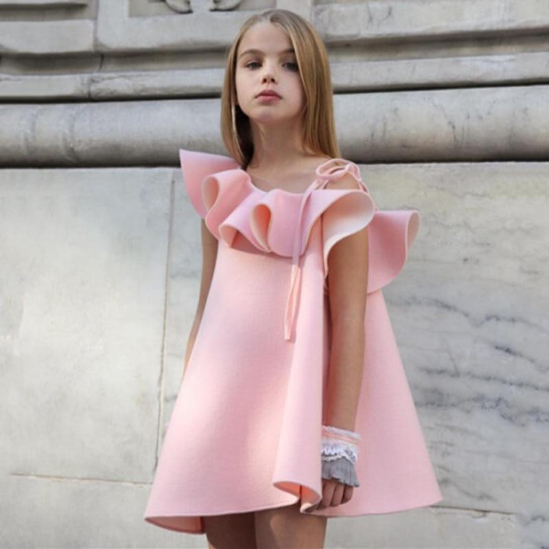 2020 New Designer Pink Dress For Girls Clothes Summer Girl Dresses One Shoulder Girls Party Dress Child Kids Princess Dress