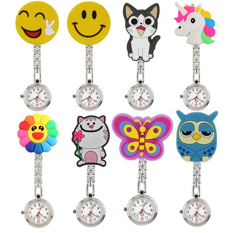 Часы наручные унисекс, Мультяшные 3D карманные для медсестер с милыми животными, с красивым клипсой, с подвеской из мягкой резины